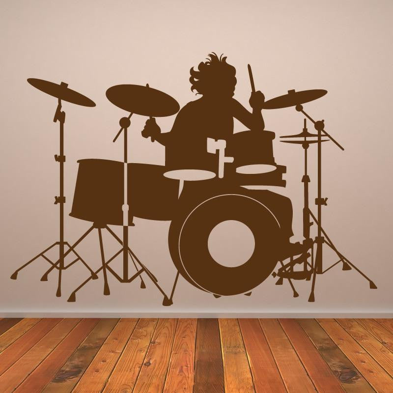 Drummer Playing Drums Wall Art Sticker - Apex Stickers