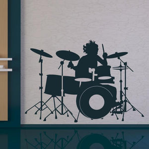 Drummer Playing Drum Kit Wall Art Sticker (AS10017) - Apex Stickers