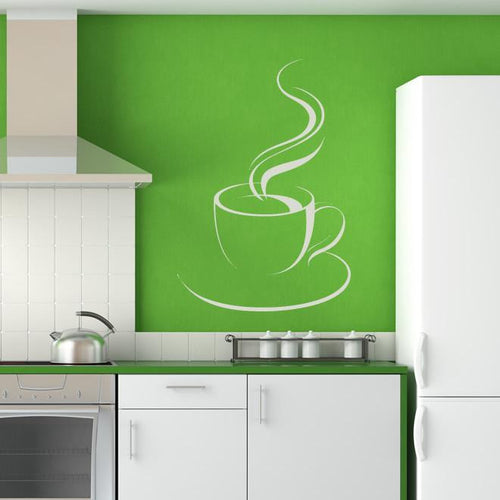 Steaming Cup of Tea/Coffee Wall Art Sticker - Apex Stickers