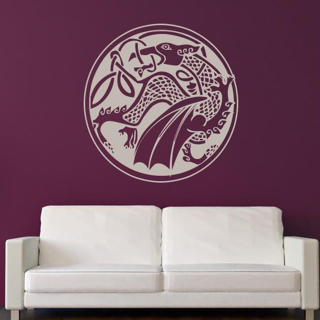 Celtic Dragon Wall Art Sticker (AS10027) - Apex Stickers