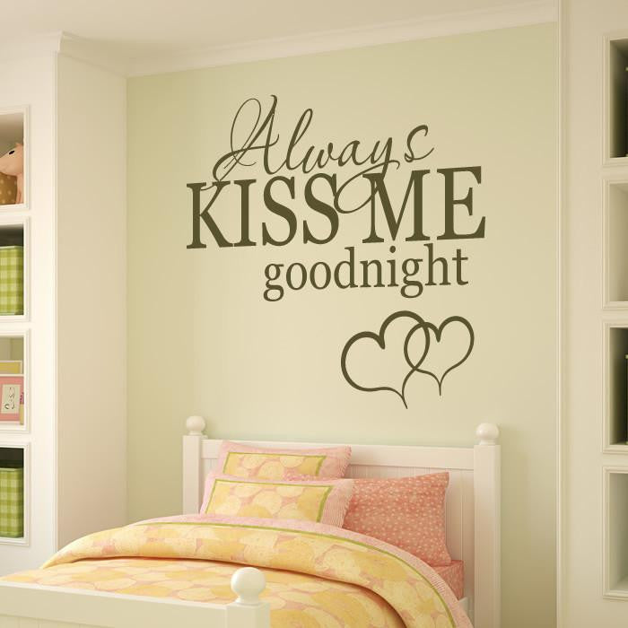 Always Kiss Me Goodnight Hearts Wall Art Sticker (AS10028) - Apex Stickers