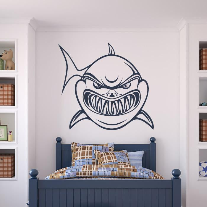 Angry Shark Wall Art Sticker (AS10036) - Apex Stickers