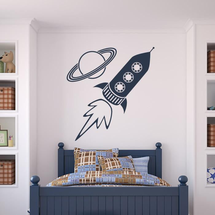 Rocket Ship and Planet Wall Sticker - Apex Stickers