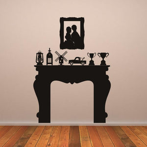 Fire Place Mantelpiece  Wall Art Sticker (AS10047) - Apex Stickers