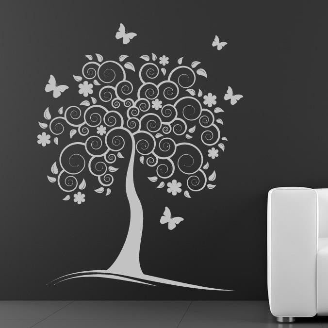 Spiral Tree with Butterflies Wall Art Sticker (AS10050) - Apex Stickers
