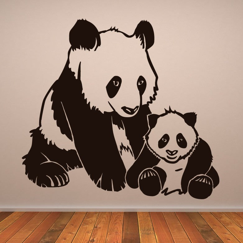 Mother and Baby Panda Bears Wall Art Sticker - Apex Stickers