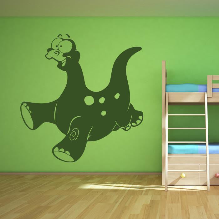 Kids Cartoon Brontosaurus Dinosaur Wall Art Sticker - Apex Stickers