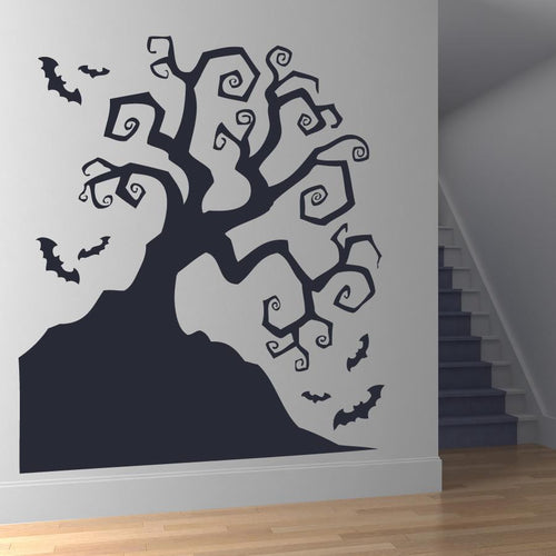 Scary Twisted Haunted Halloween Tree with Bats Wall Art Sticker - Apex Stickers