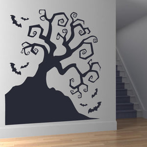 Scary Twisted Haunted Halloween Tree with Bats Wall Art Sticker (AS10065) - Apex Stickers