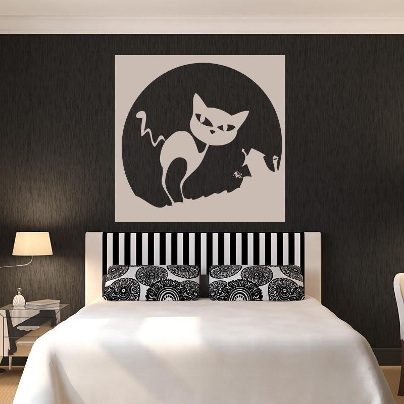Spooky Cartoon Halloween Cat and Moon Wall Art Sticker (AS10066) - Apex Stickers
