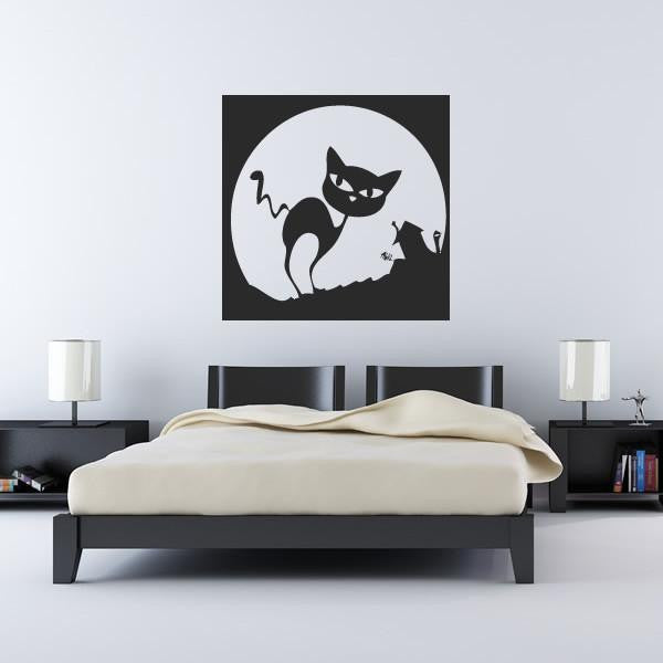 Spooky Cartoon Halloween Cat and Moon Wall Art Sticker - Apex Stickers