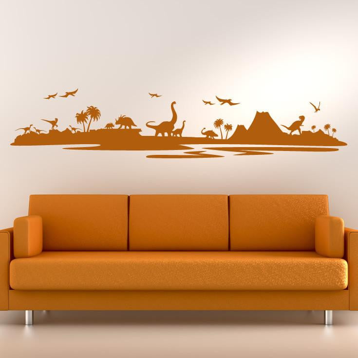 Dinosaur Landscape Wall Art Sticker (AS10068) - Apex Stickers
