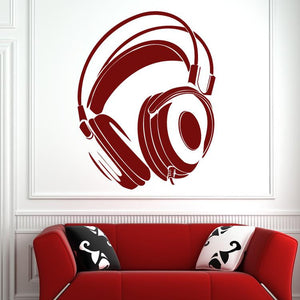 DJ Headphones Cans Wall Art Sticker (AS10070) - Apex Stickers