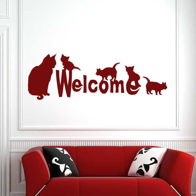Welcome Cats Wall Art Sticker - Apex Stickers