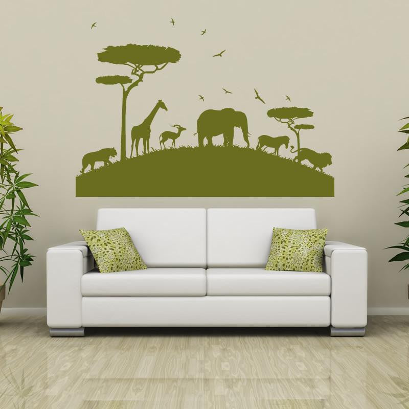 African Animals Safari Wall Art Sticker (AS10072) - Apex Stickers