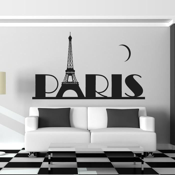 Paris with Eiffel Tower and Moon Wall Art Sticker - Apex Stickers