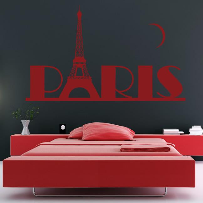 Paris with Eiffel Tower and Moon Wall Art Sticker (AS10080) - Apex Stickers