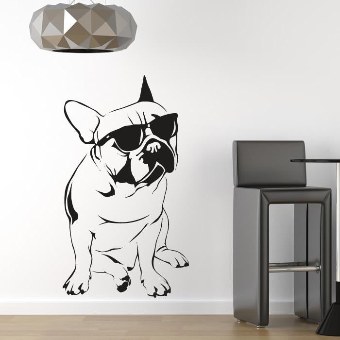 French Bulldog wearing Sunglasses Wall Art Sticker (AS10082) - Apex Stickers