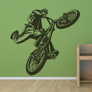 BMX Bike Stunt Rider Wall Art Sticker (AS10083) - Apex Stickers
