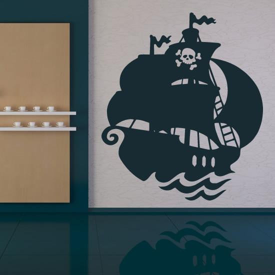 Kids Pirate Ship Wall Art Sticker (AS10084) - Apex Stickers