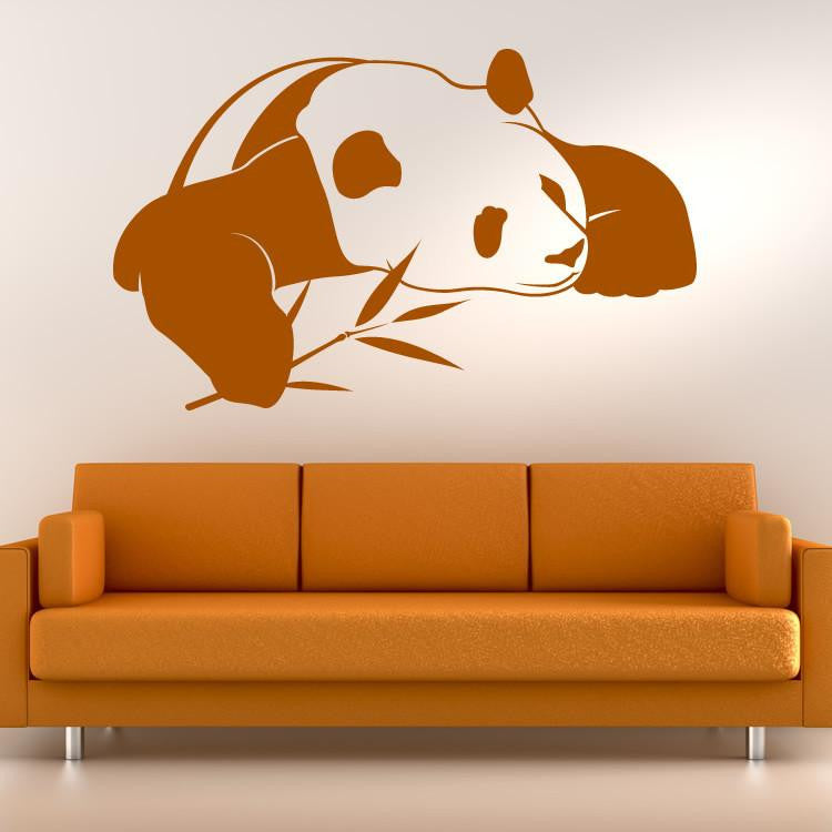 Sleeping Panda with Bamboo Wall Art Sticker (AS10088) - Apex Stickers