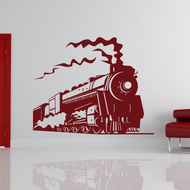 Steam Engine Train Wall Art Sticker (AS10089) - Apex Stickers
