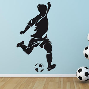 Footballer Striker kicking ball Wall Art Sticker (AS10090) - Apex Stickers