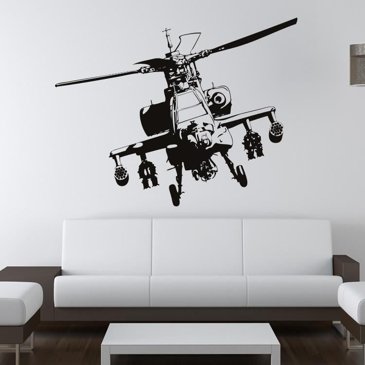Apache Gunship Army Helicopter Wall Art Sticker (AS10092) - Apex Stickers