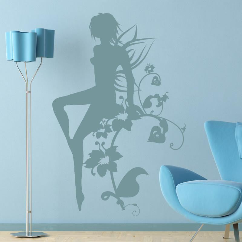 Flower Fairy Girl Wall Art Sticker (AS10093) - Apex Stickers