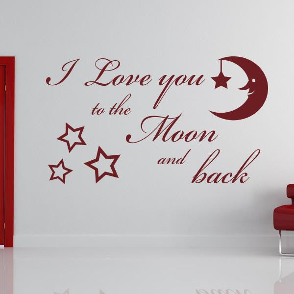 I Love You to the Moon and Back Wall Art Sticker (AS10099) - Apex Stickers