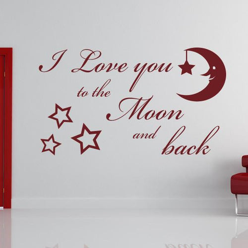 I Love You to the Moon and Back Wall Art Sticker - Apex Stickers