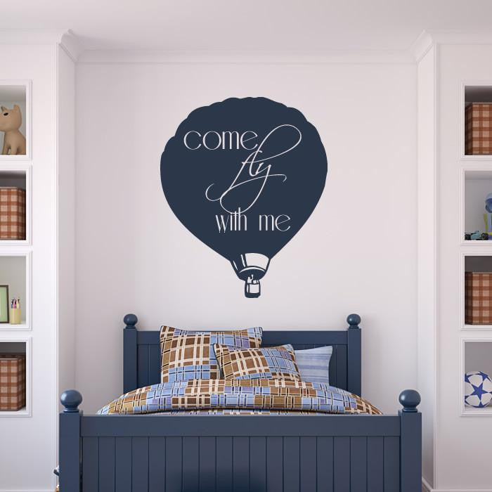 Come Fly With Me Hot Air Balloon Wall Art Sticker - Apex Stickers