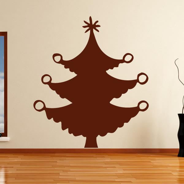 Christmas Tree with Baubles Wall Art Sticker - Apex Stickers