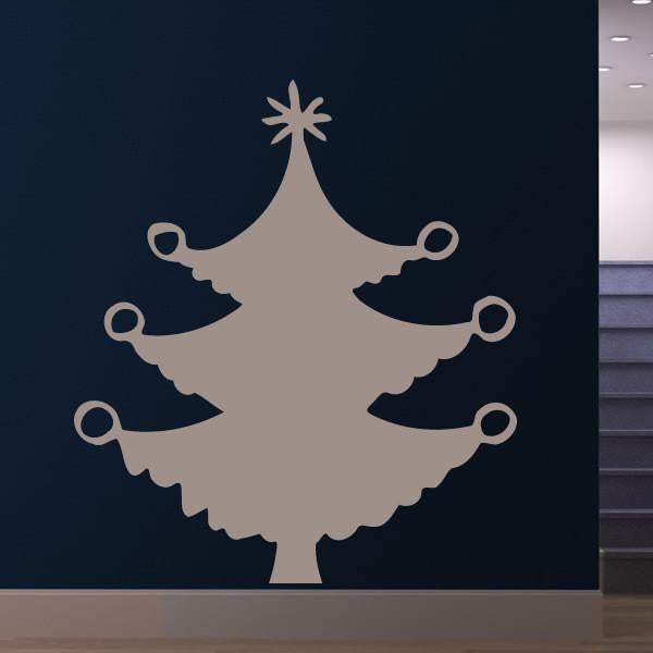 Christmas Tree with Baubles Wall Art Sticker (AS10114) - Apex Stickers