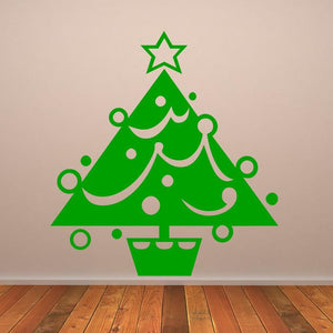 Christmas Tree with Tinsel and Baubles Wall Art Sticker (AS10115) - Apex Stickers