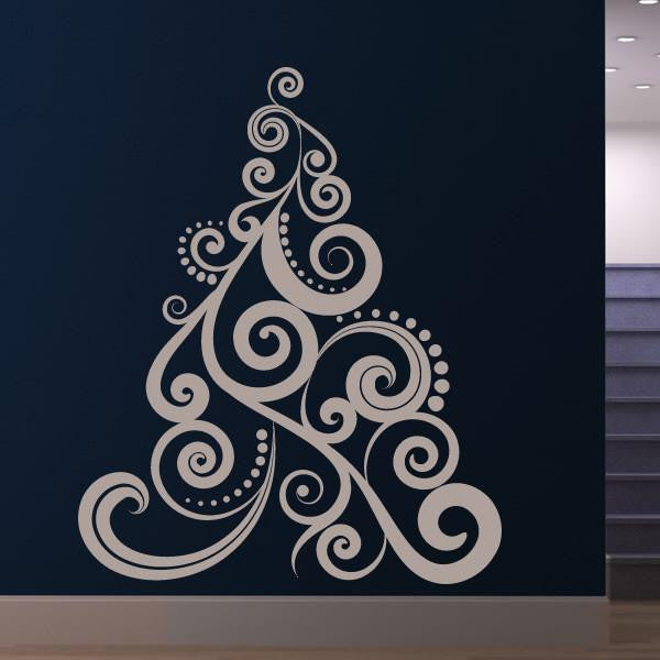 Christmas Tree Spiral Swirl Design Wall Art Sticker (AS10122) - Apex Stickers