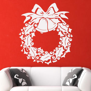 Christmas Holly Berry Wreath Wall Art Sticker - Apex Stickers