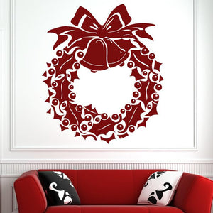 Christmas Holly Berry Wreath Wall Art Sticker (AS10123) - Apex Stickers