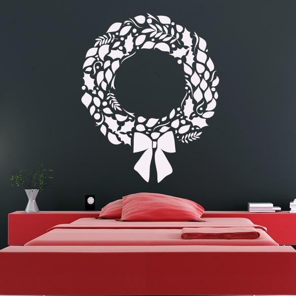 Christmas Holly Berry Wreath Wall Art Sticker (AS10124) - Apex Stickers