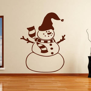 Christmas Snowman Wall Art Sticker (AS10126) - Apex Stickers