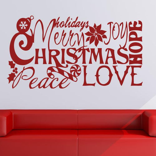 Merry Christmas Love Quote Wall Art Sticker - Apex Stickers