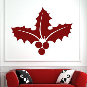 Christmas Holly and Berries Wall Art Sticker (AS10129) - Apex Stickers
