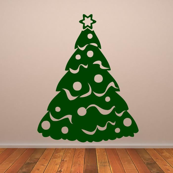 Christmas Tree with Tinsel and Baubles Wall Art Sticker (AS10130) - Apex Stickers