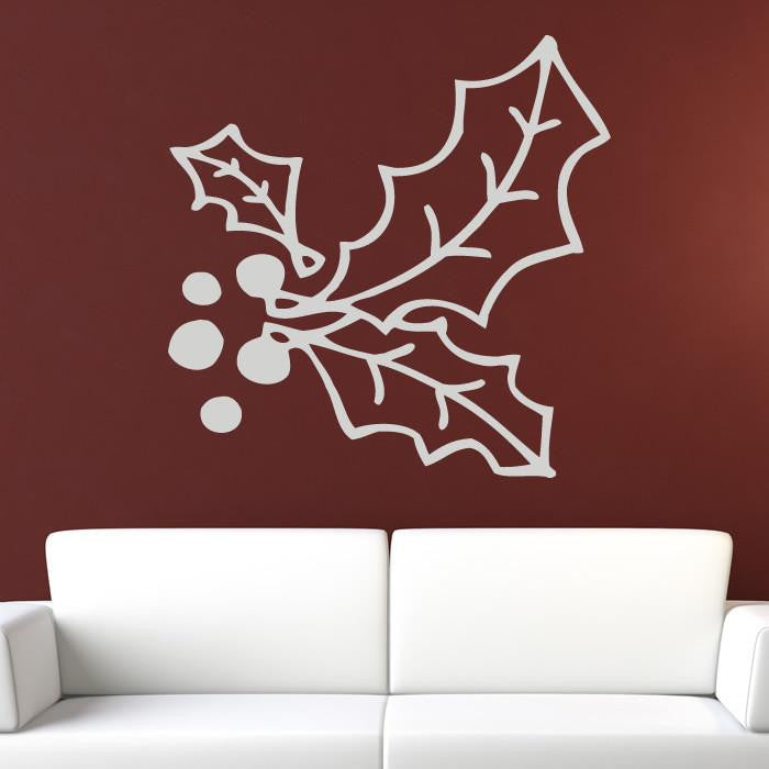 Christmas Holly and Berries Wall Art Sticker (AS10131) - Apex Stickers
