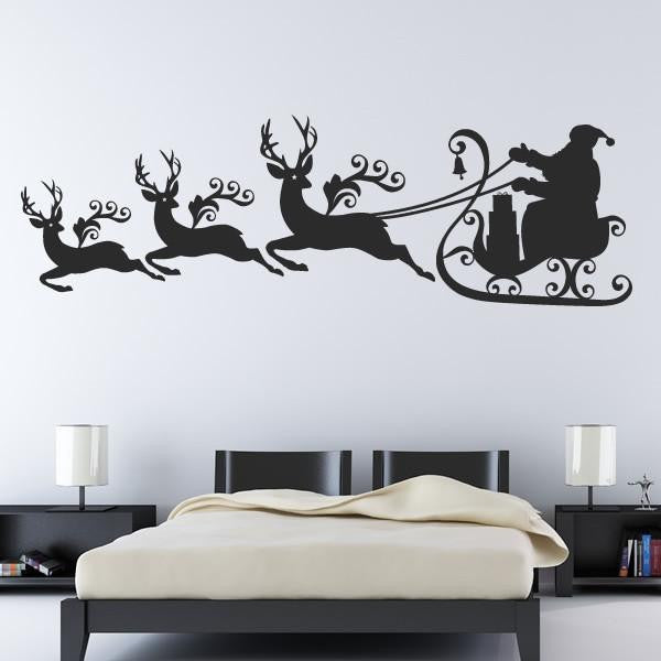Santa Sleigh and Reindeer Wall Art Sticker (AS10132) - Apex Stickers