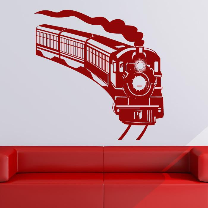 Steam Engine Train Wall Art Sticker (AS10136) - Apex Stickers