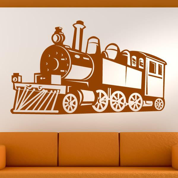 Steam Engine Train Wall Art Sticker (AS10138) - Apex Stickers