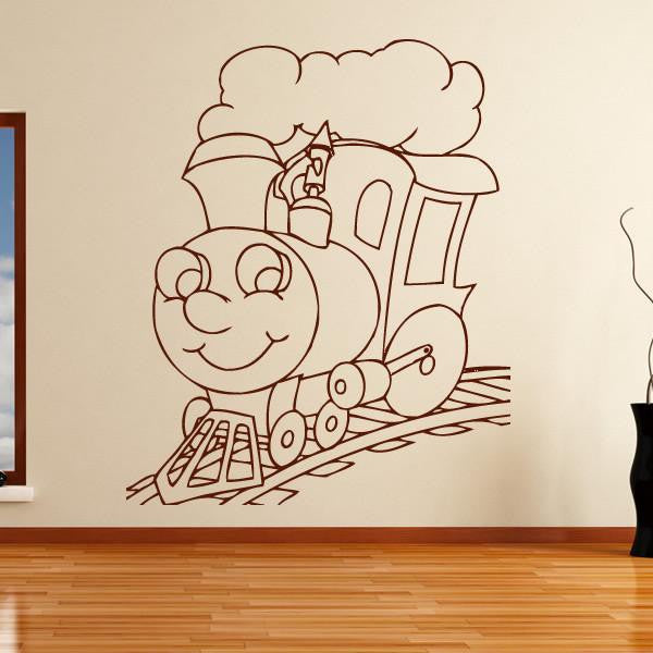 Kids Cartoon Steam Engine Train Wall Art Sticker (AS10141) - Apex Stickers
