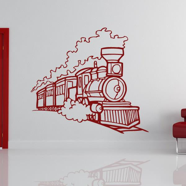 Cartoon Steam Engine Train Wall Art Sticker (AS10144) - Apex Stickers