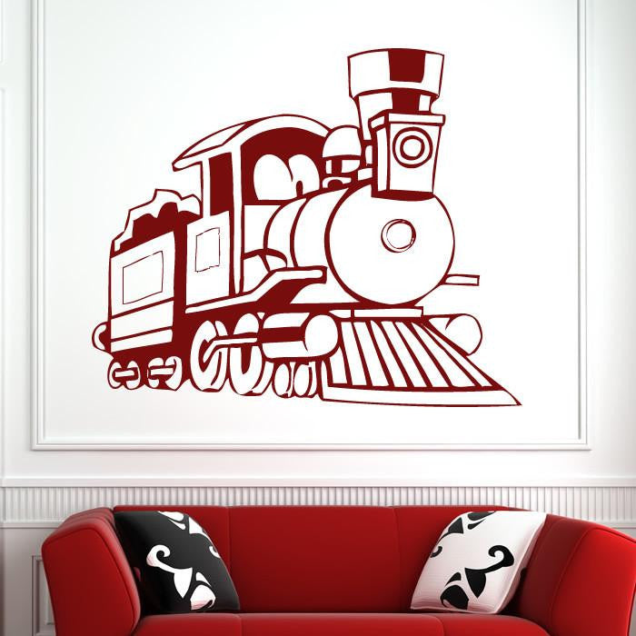 Cartoon Steam Engine Train Wall Art Sticker (AS10145) - Apex Stickers